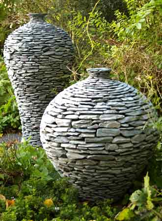 unique garden stone pots water features and planters